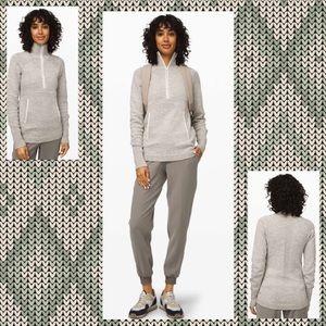 LULULEMON Summit Stride Half Zip Sweater Grey L